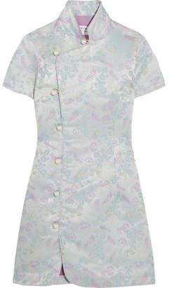 ALEXACHUNG - Faux Pearl-embellished Jacquard Mini Dress - Blue $625 thestylecure.com