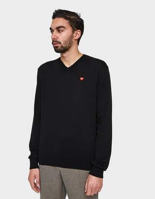 Comme des Garcons Play Small Red Heart V-Neck Sweater in Black