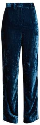 Jupe By Jackie - Moritz Embroidered Silk Velvet Trousers - Womens - Mid Blue