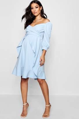 boohoo Maternity Bardot Ruffle Skater Dress
