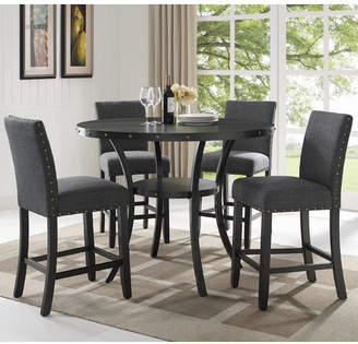 Gracie Oaks Amy Espresso Wood 5 Piece Dining Set Upholstery