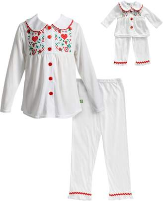 Dollie & Me Girls 4-14 Button Front Embroidered Top & Bottoms Pajama Set
