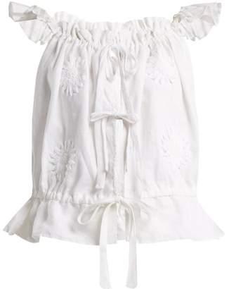 Innika Choo - Embroidered Linen Top - Womens - White
