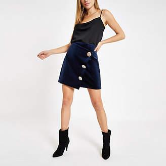 River Island Navy velvet button wrap mini skirt