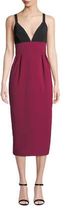 Jill Stuart Two-Tone V-Neck Sleeveless Cocktail Dress