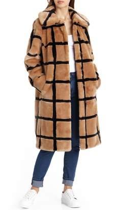 AVEC LES FILLES Windowpane Faux Fur Coat