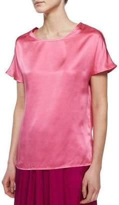 Neiman Marcus Short-Sleeve Silk Cocoon Tee $150 thestylecure.com