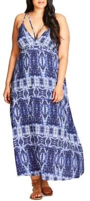 City Chic Tie Dye Blues Maxi Dress