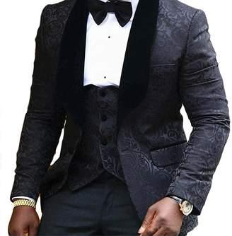 Lilis® Men s Jacquard Weave Mens Slim Fit Tuxedos Suits 3 Piece Sets 9f3cdaf6c