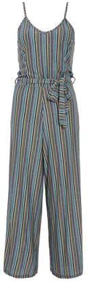 Quiz Blue And Green Glitter Stripe Culotte Jumpsuit