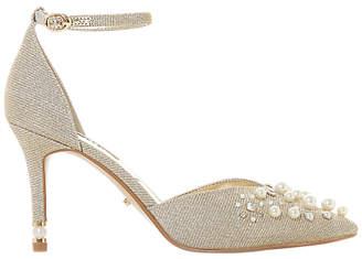 Dune Delillah Embellished Stiletto Heel Court Shoes, Metallic