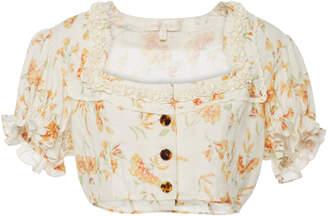 LoveShackFancy Drea cotton and linen blend top