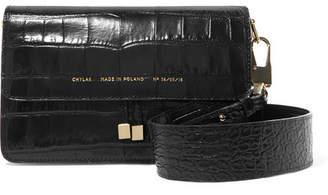 Chylak - Croc-effect Leather Shoulder Bag - Black