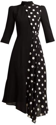 Andrew Gn Polka Dot Panel Silk Midi Dress - Womens - Black White