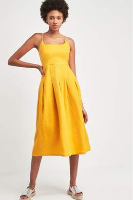 Whistles Womens Yellow Duffy Linen Strappy Dress - Yellow