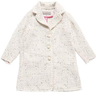 Ermanno Scervino Tweed Coat W/ Sequin Embellishments