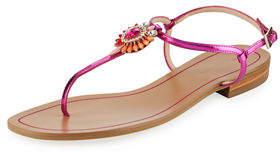 Pelle Moda Baxley Metaliic Crystal-Pendant Flat Sandal