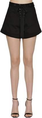 Self-Portrait Lace-Up Cotton Canvas Shorts
