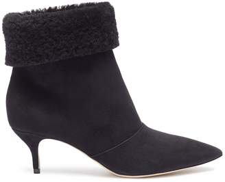 Paul Andrew 'Banner' foldover shearling suede ankle boots