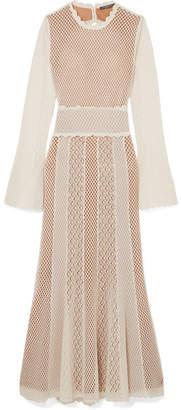 Alexander McQueen Open-back Paneled Crocheted Cotton-blend Midi Dress - Ivory