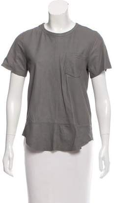 Adriano Goldschmied Leather Short Sleeve Top