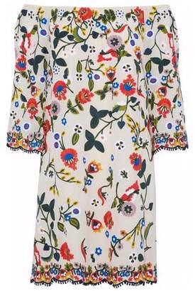 Alice + Olivia Off-The-Shoulder Crochet-Trimmed Embroidered Crepe Mini Dress