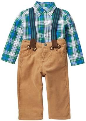 Little Me Woven Pants Suspender Set (Baby Boys)