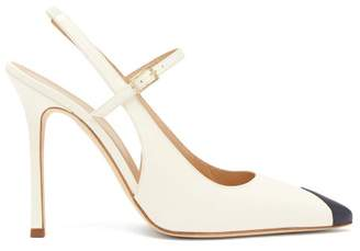Alessandra Rich Toe Panel Leather Slingback Pumps - Womens - White