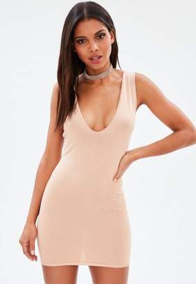 Missguided Nude Extreme Scoop Knit Mini Dress