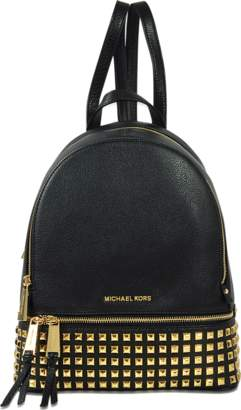 MICHAEL Michael Kors Rhea Zip Medium Pyramid Studded Backpack in Black Soft Venus