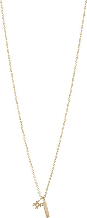 Minor Obsessions Gold #1 Pendant Necklace-Colorless