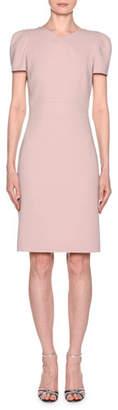 Giorgio Armani Short-Sleeve Wool Crepe V-Neck Dress, Pink