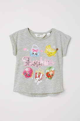 H&M Reversible Sequin T-shirt - Gray