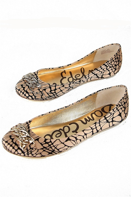 Sam Edelman Carmen Ballet Flat in Black & Nude Pebble Silk Print