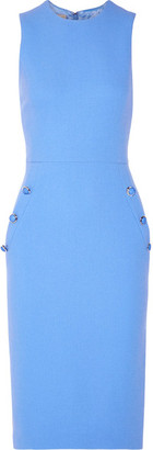 Michael Kors Collection - Button-detailed Wool-blend Crepe Midi Dress - Blue