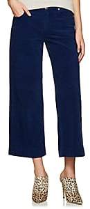 Care Label Women's Cotton Corduroy Crop Wide-Leg Trousers - Blue