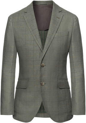 Green Check Wool Cotton And Cashmere Blazer