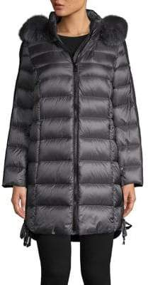 1 Madison Fox Fur Trim Hooded Puffer Jacket
