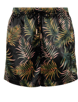 Kith - Ellen Embroidered Printed Stretch-satin Shorts - Army green