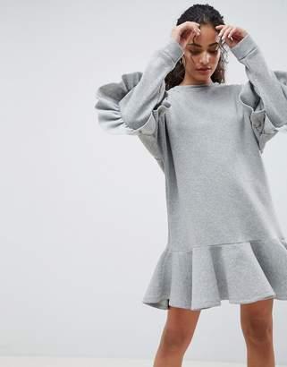 Asos DESIGN pep hem mini sweat dress with frills