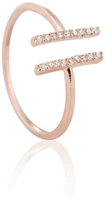 Astrid & Miyu - Chase Me Double Bar Ring in Rose Gold