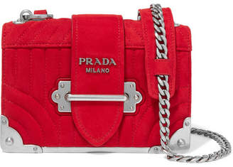 Prada Cahier Mini Quilted Suede Shoulder Bag - Red