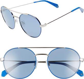 Polaroid Round 55mm Polarized Sunglasses