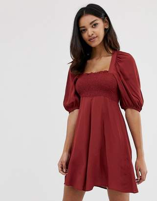 Asos Design DESIGN shirred bustier mini skater dress with puff sleeve