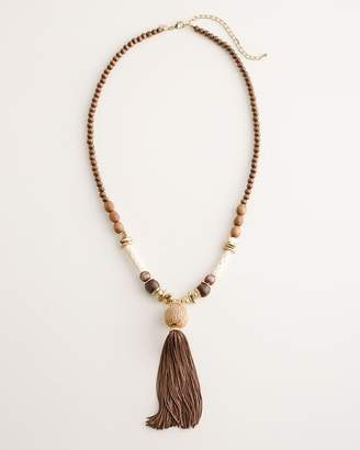 Chico's Chicos Beaded Neutral Tassel Necklace