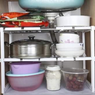TRYIF 2-Tire Adjustable Under Sink Cabinet Storage Counter Shelf Organizer Rack