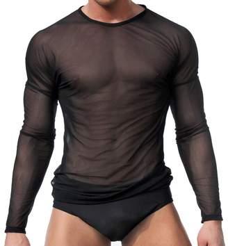 Trunks Batedan Mens Mesh See Through Clubwear Fishnet Breathable Tank Vest T-Shirt