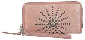 Tresori Women's Real Leather RFID Data Protected Zip Around Large Metallic Wristlet Wallet