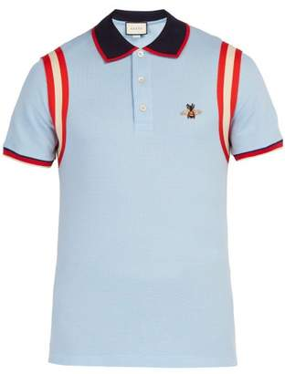 Gucci Bee Embroidered Cotton Pique Polo Shirt - Mens - Light Blue