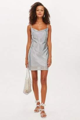 Topshop Foil Cowl Mini Dress